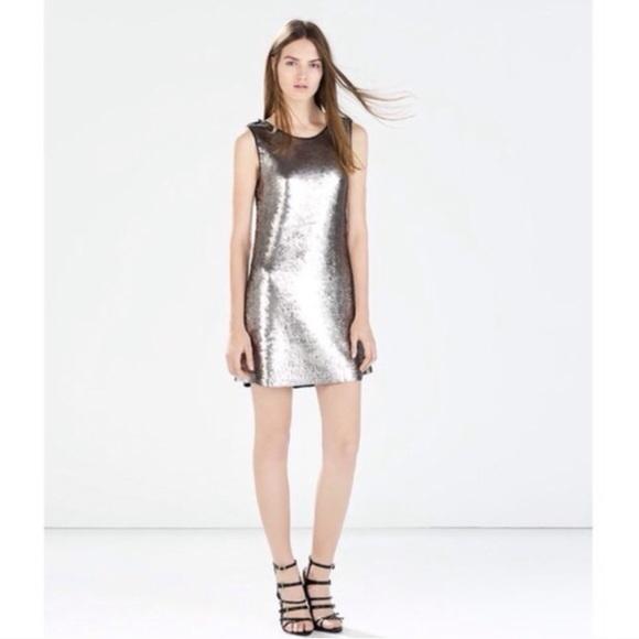 970682bf Zara Dresses | Silver Sequined Dress | Poshmark