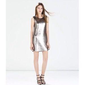 Zara Silver Sequined Dress