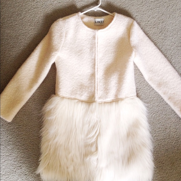 53% off Outerwear - Fluffy fur cream wool coat from Evie's closet ...
