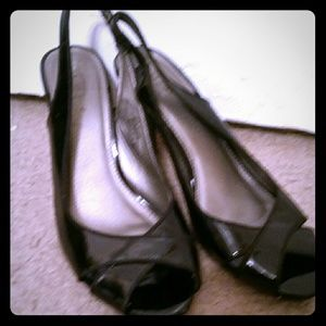 Merona Black Patent Peep Toe Pumps, Size 8.5