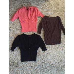 Sweaters - Brown, Black & Peach Cardigans