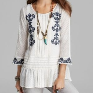 Free People Jocelyn Embroidered Top