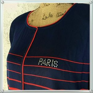 Tops - 106) Red & Blue striped  'Paris' top