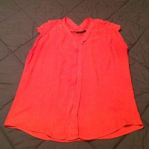 a.n.a. Orange sleeveless, ruched shoulder top