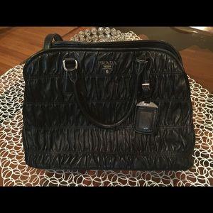 Prada - Prada Black Leather Bag Silver Handle Bag from Alexa\u0026#39;s ...