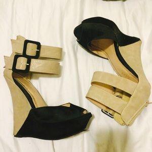 Black & Taupe Suede Strap Wedges Peep Toe