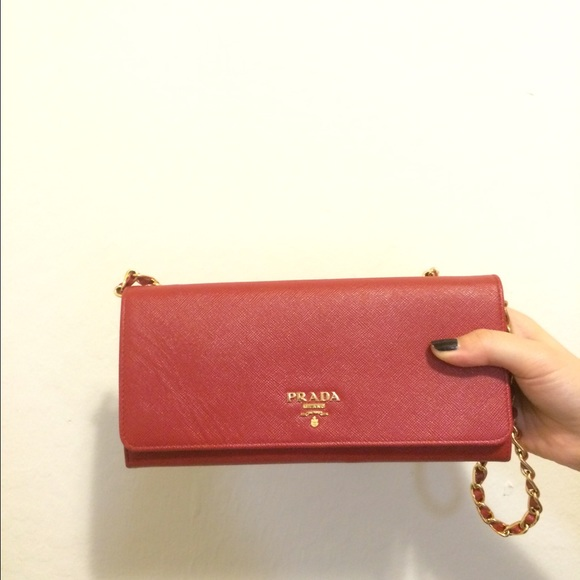 Prada Milano Wallet Prada Chain Wallet in Red