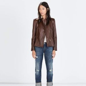 Zara zipped leather jacket