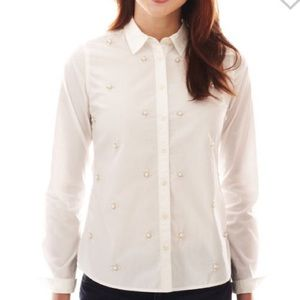 jcpenney Tops - Pearl embellished button up top