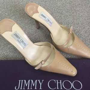 Jimmy Choo slip-ons w/ heel replacement tips