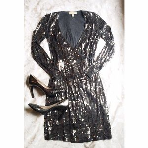 Michael Kors Sequined Wrap Dress