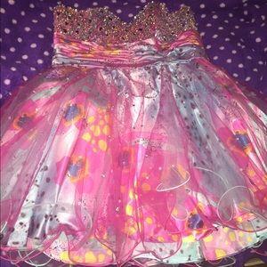 Multicolored plus size prom dress