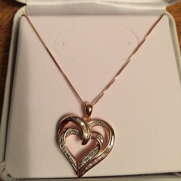 Jcpenney Gold Bracelets: Rose Gold Heart Necklace From