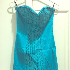 strapless turquoise Bebe dress