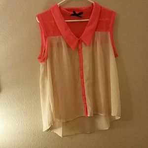 Sheer peachy/tan and coral colored button up