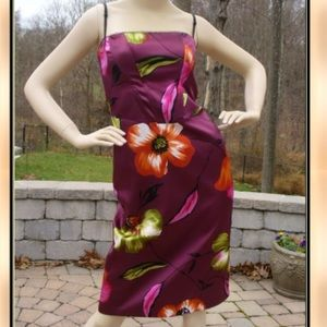 bebe Dresses & Skirts - bebe Purple Plum Floral Satin Sheath Dress Sz S