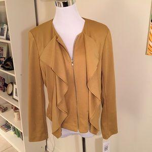 Sunny Leigh Jackets & Blazers - NWT gold ruffle zipper jacket