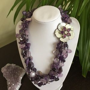 Jewelry - 🎉HP🎉NWOT 5 Strand Amethyst & Crystal Necklace