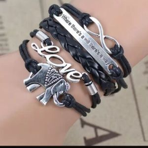 Multi Layer PU Leather Elephant Infinity Bracelet