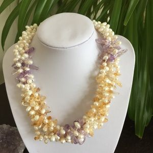 Jewelry - 🎉HP🎉White Pearl, Citrine & Ametrine Necklace