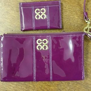 Coach Purple Patent Zippy Wallet and Card Case