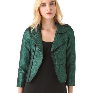 Green Lamé Rebecca Minkoff Moto Jacket