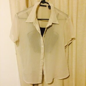 Sheer Taupe Beige Button Up Short Sleeve Blouse