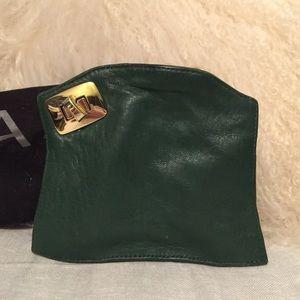 Bulga  Handbags - Bulga Hunter Green Leather Clutch