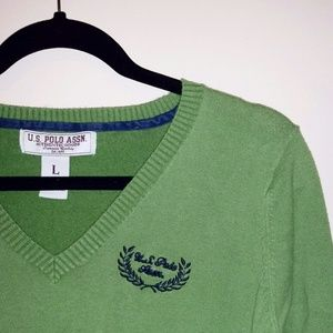 SOLD - Green V Neck Sweater - Size L