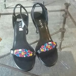 Shoes - Sequined mix-it strappy black shoes