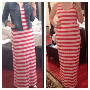 Red and White Striped Maxi Dress