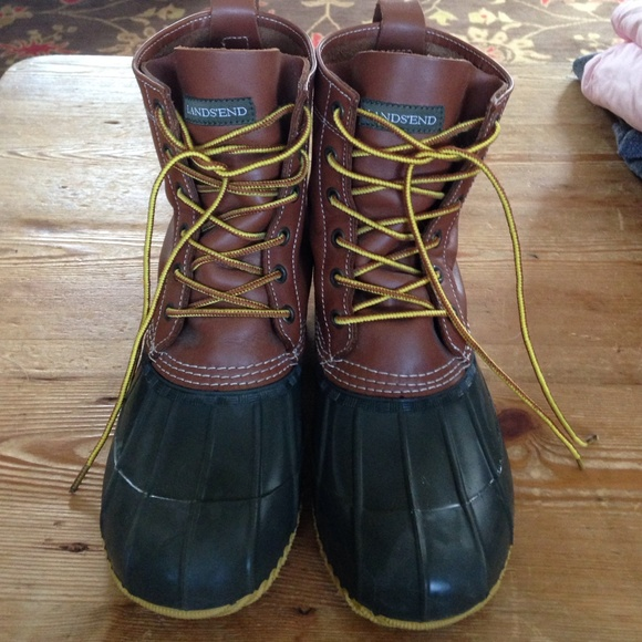 4cd745a3ac1dc Lands End duck boots, hunter green and leather, 10
