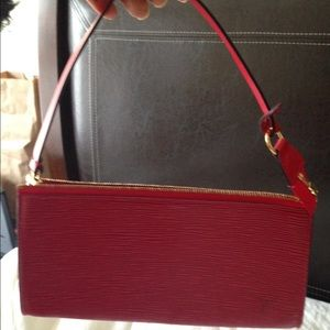 Authentic Louis Vuitton epi red Pochette