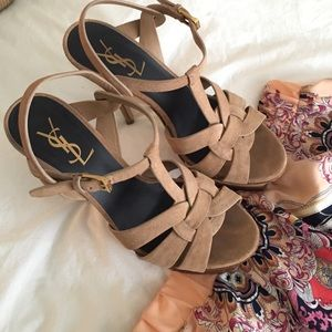 YSL Tribute Nude Suede Sandals 