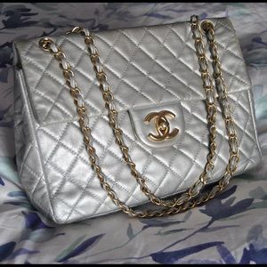 Chanel Maxi Single Flap Silver Classic Bag