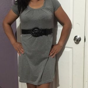 Belted gray dress