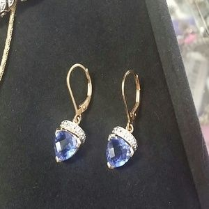 QVC  Jewelry - Gorgeous Lab created tanzanite earrings