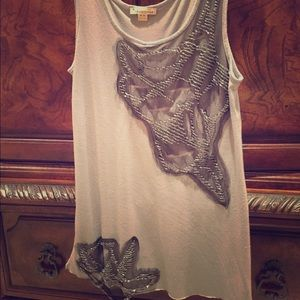 Forever 21 Grey Netting & Bead Tank Top