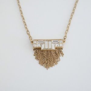 Gold Fringe and Cut Crystals Necklace