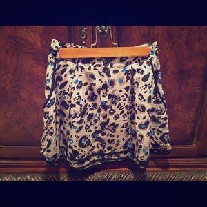 Forever 21 Black Teal and Grey Leopard Skirt