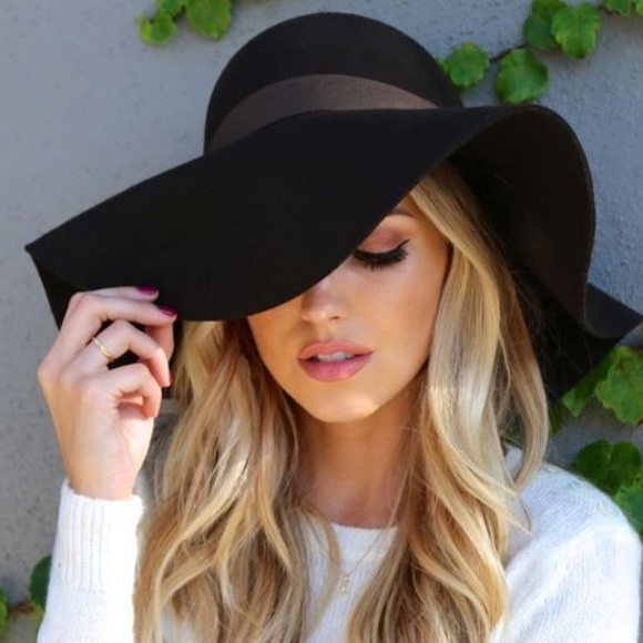 31a26b52 Accessories | Black Floppy Felt Summer Hat Wide Brim Grey Brown ...