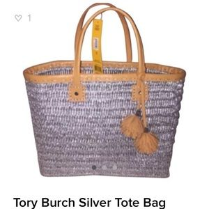 Tory Burch Silver Chunky Straw Tote NEW