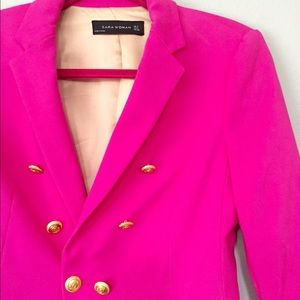 Zara Double Breasted Blazer - Fuchsia