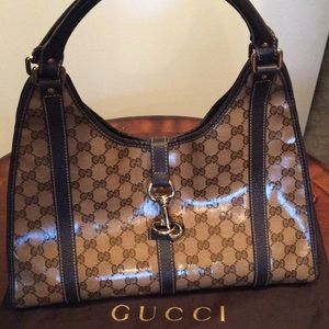 Gucci Crystal GG Pushlock Bardot Medium Hobo Bag