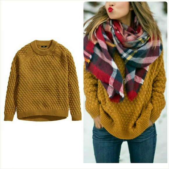 37% off H&M Sweaters - H&M Oversized Textured Knit Sweater Mustard ...