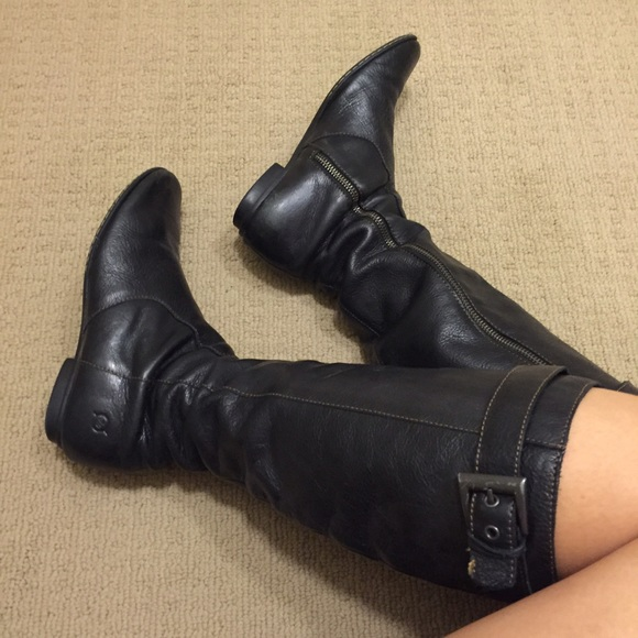 75 born boots black leather flat boots from s