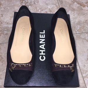 AUTHENTIC CHANEL Dark Brown/Burgundy Suede Flats