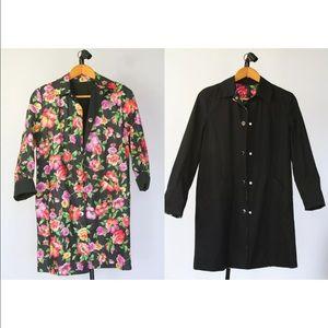 Jones New York Black Floral reversible raincoat XL
