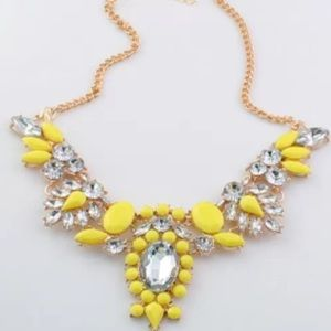Neon yellow gold crystal statement necklace