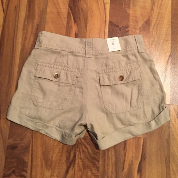 60% off Old Navy Pants - NWT Old Navy Khaki Linen Shorts Size 0 ...